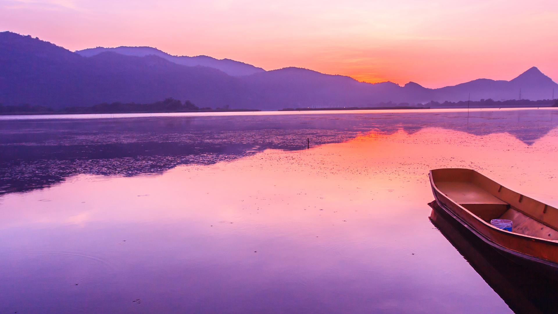 Boat Purple Ocean